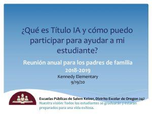 SPANISH SW 2019-2020 Title I Annual Parent Information