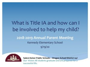 2019-2020 Title I Annual Parent Information