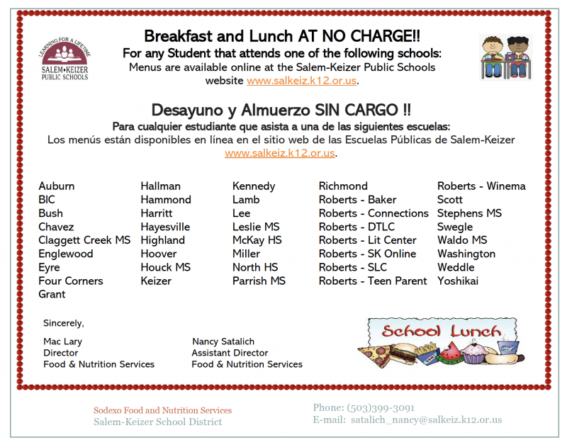 Free Breakfast and Lunches for students at Kennedy Elementary School